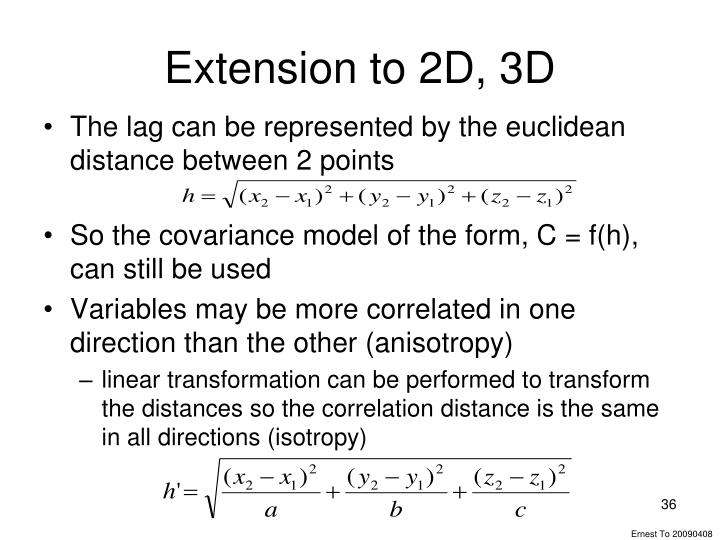 Extension to 2D, 3D