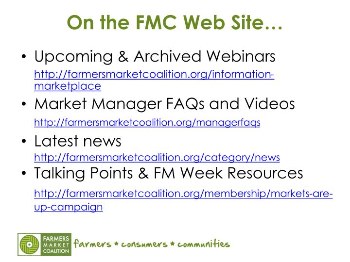 On the FMC Web Site…