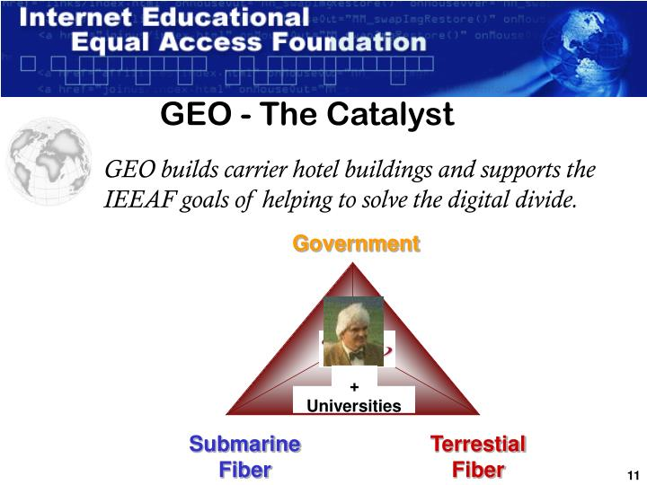 GEO builds carrier hotel buildings and supports the IEEAF goals of helping to solve the digital divide.