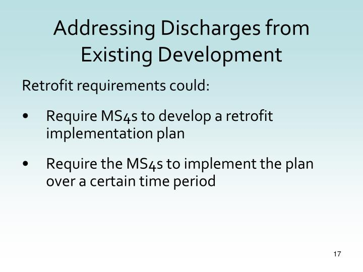 Addressing Discharges from Existing Development