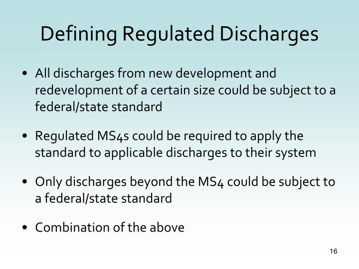 Defining Regulated Discharges
