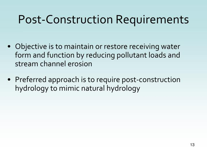 Post-Construction Requirements