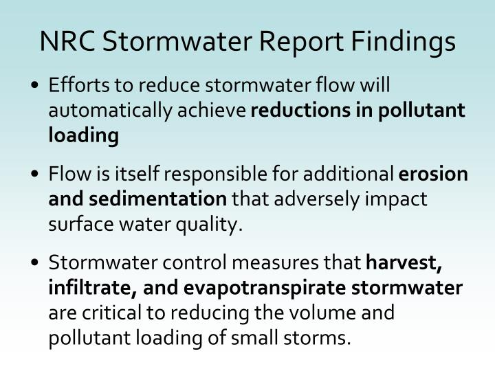 NRC Stormwater Report Findings