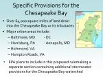 specific provisions for the chesapeake bay