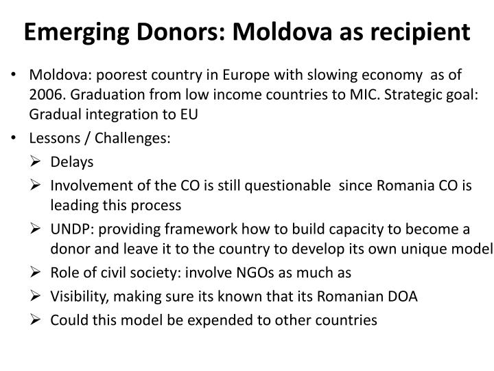 Emerging Donors: Moldova as recipient