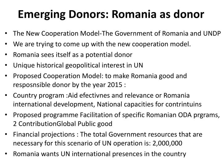 Emerging Donors: Romania as donor