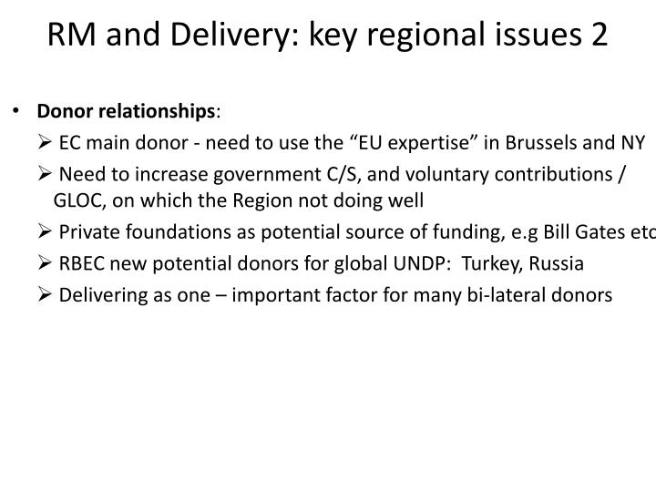 RM and Delivery: key regional issues 2