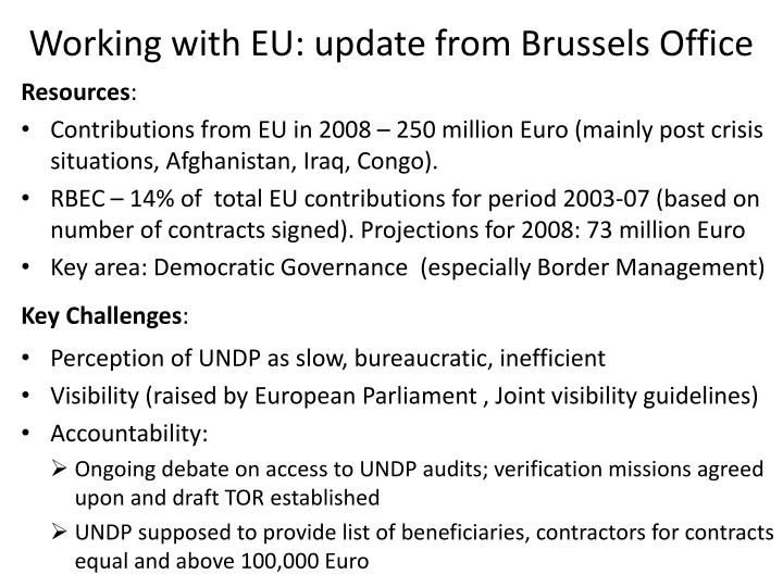 Working with EU: update from Brussels Office
