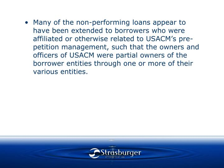 Many of the non-performing loans appear to have been extended to borrowers who were affiliated or otherwise related to USACM's pre-petition management, such that the owners and officers of USACM were partial owners of the borrower entities through one or more of their various entities.