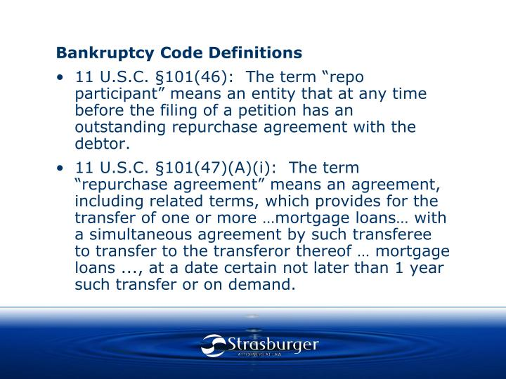 Bankruptcy Code Definitions