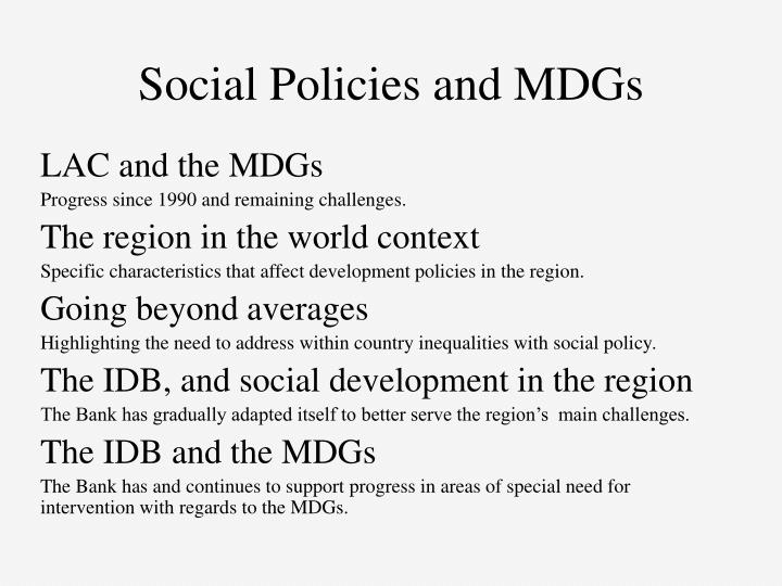 Social Policies and MDGs