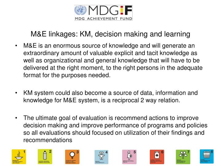 M&E linkages: KM, decision making and learning