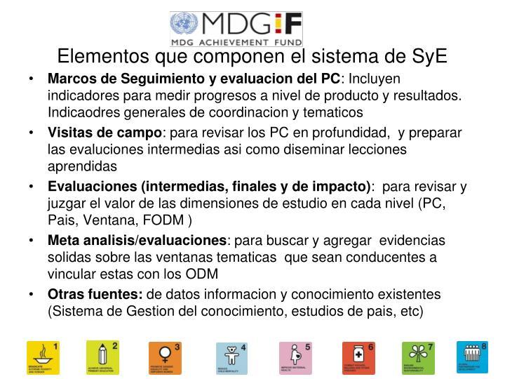 Elementos que componen el sistema de SyE