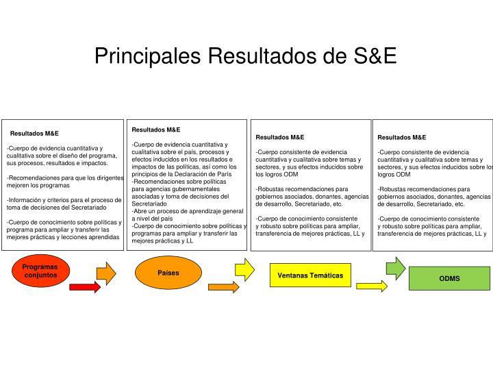 Principales Resultados de S&E