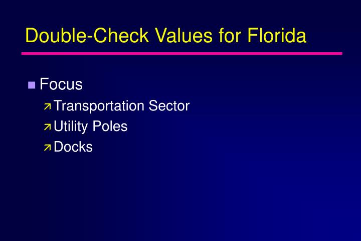 Double-Check Values for Florida