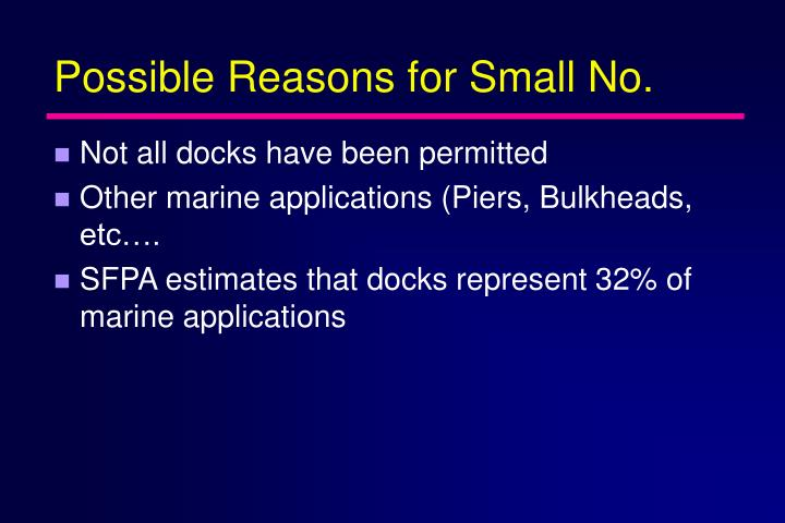 Possible Reasons for Small No.