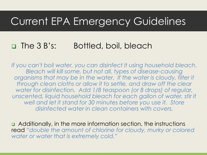 Current epa emergency guidelines
