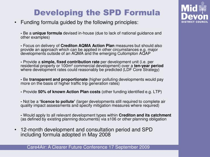 Developing the SPD Formula