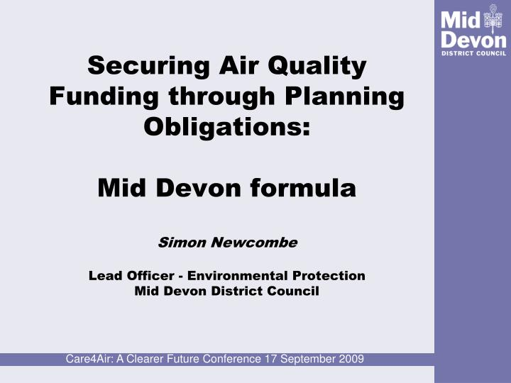 Securing Air Quality Funding through Planning Obligations: