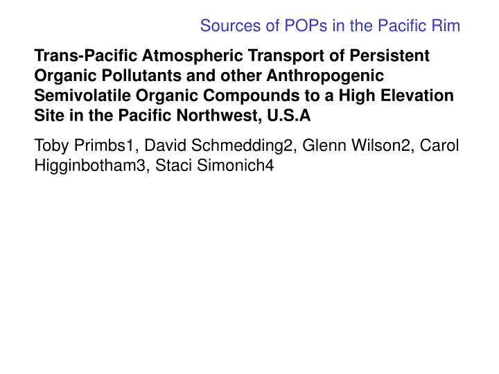 Sources of POPs in the Pacific Rim