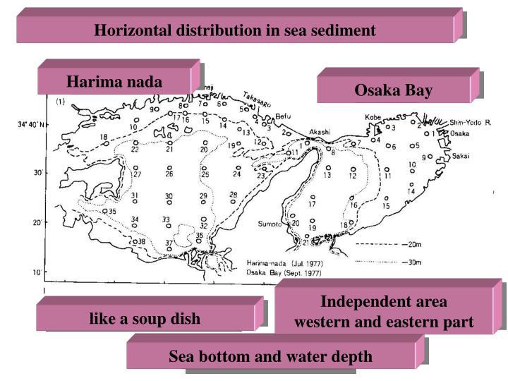 Horizontal distribution in sea sediment