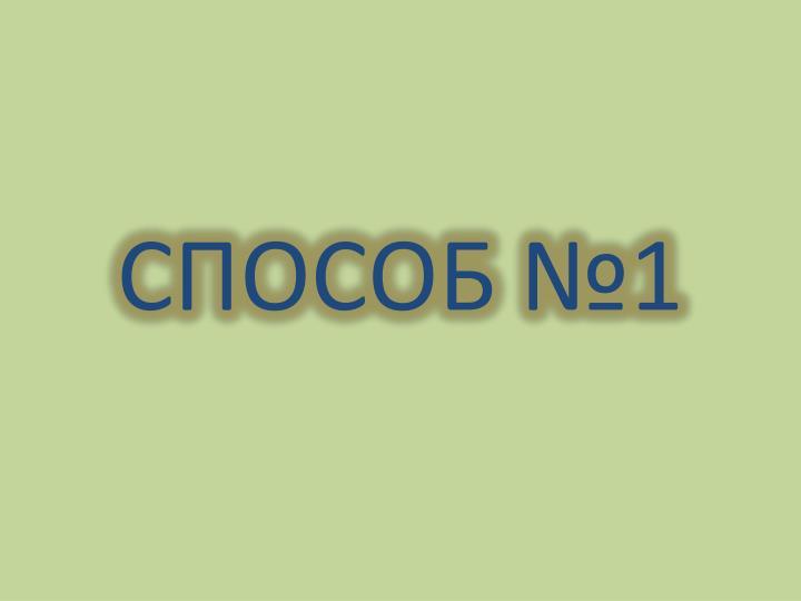 СПОСОБ №1