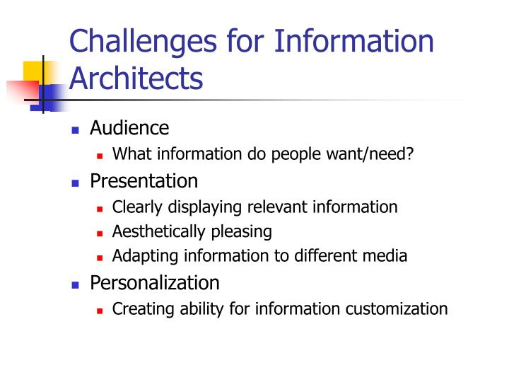 Challenges for Information Architects