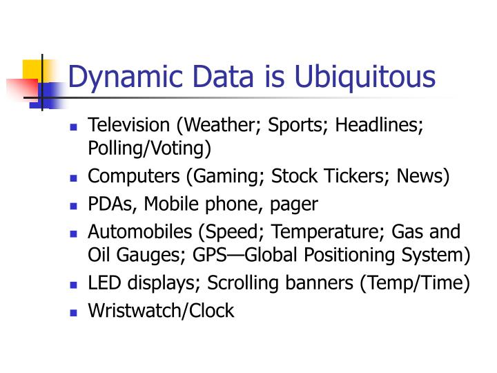 Dynamic Data is Ubiquitous