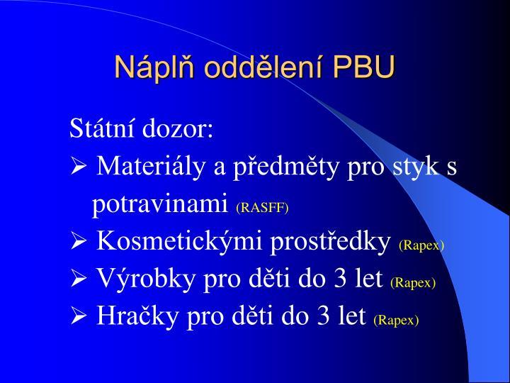 Náplň oddělení PBU