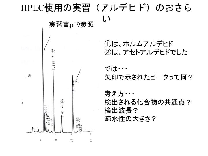 HPLC使用の実習(アルデヒド)のおさらい