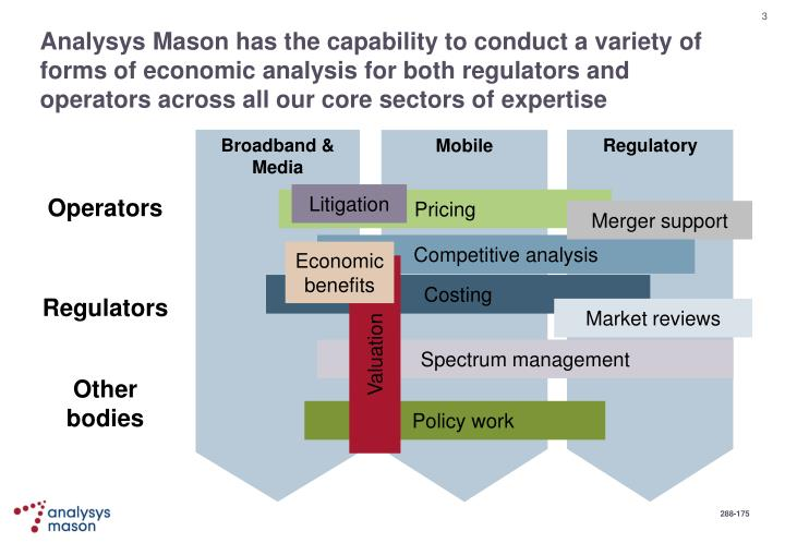 Analysys Mason has the capability to conduct a variety of forms of economic analysis for both regula...