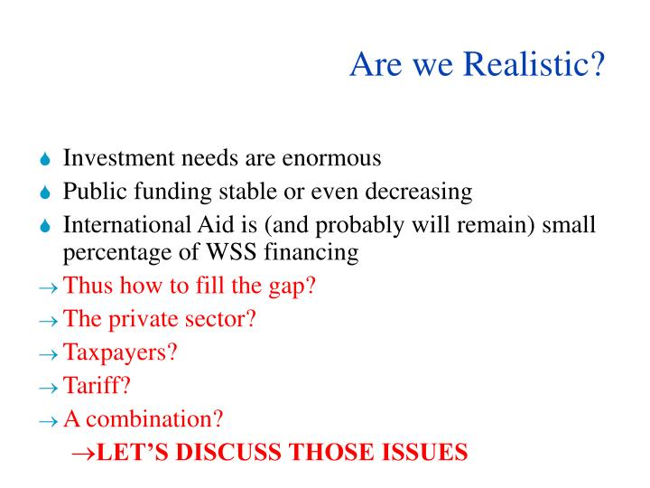 Are we Realistic?