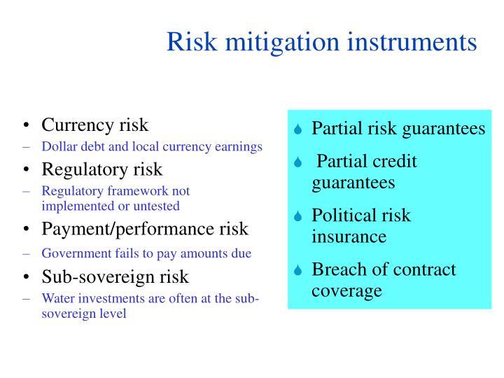 Risk mitigation instruments