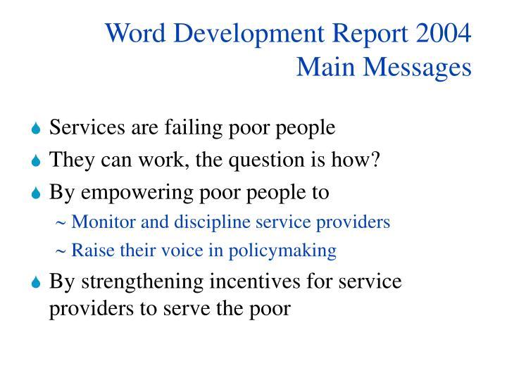 Word Development Report 2004