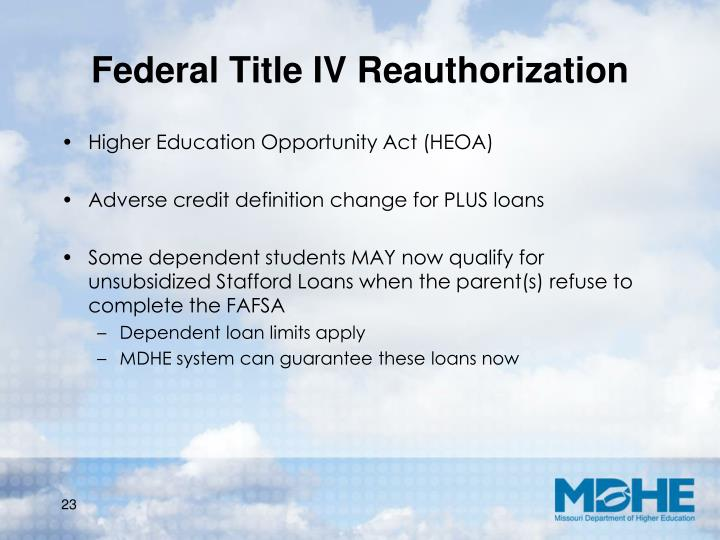 Federal Title IV Reauthorization