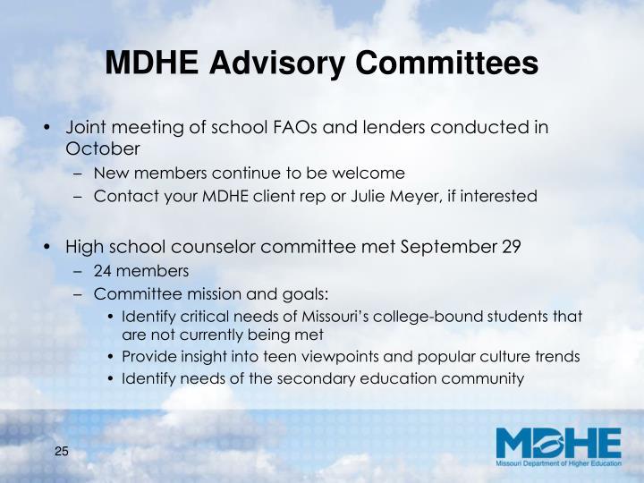 MDHE Advisory Committees