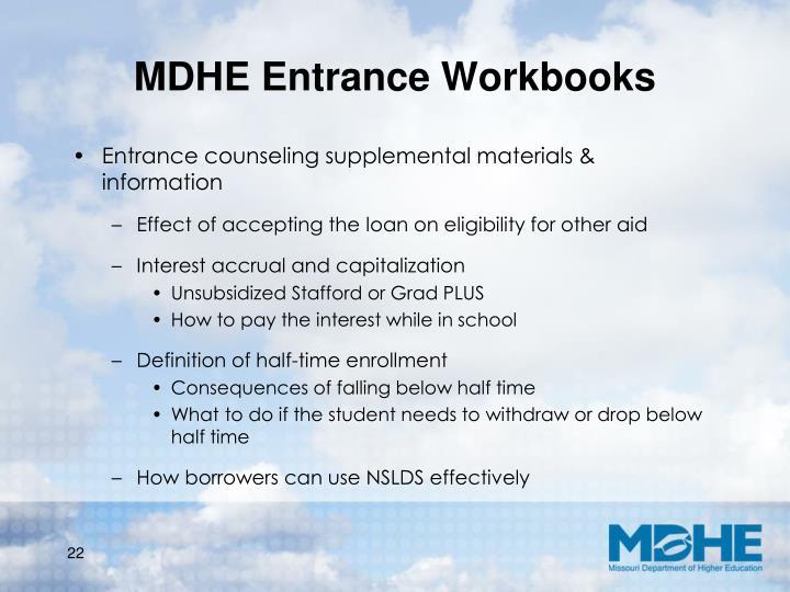MDHE Entrance Workbooks