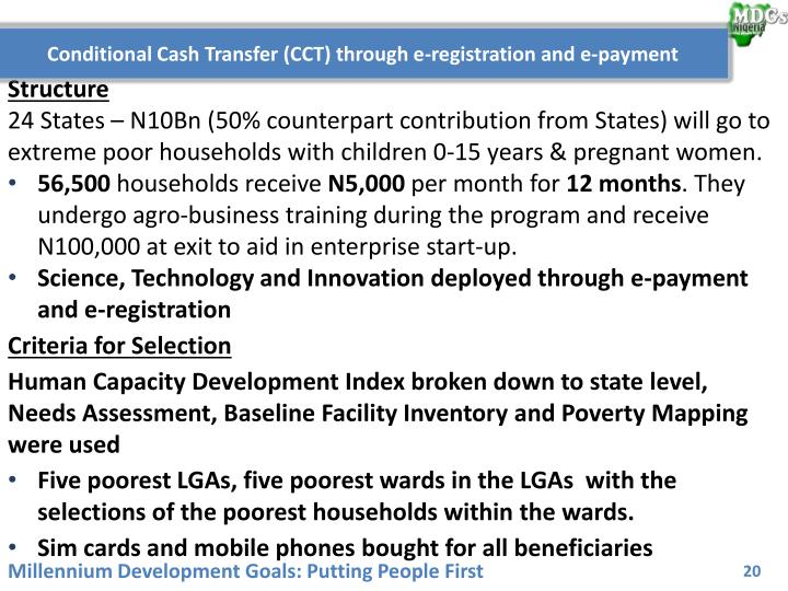 Conditional Cash Transfer (CCT) through e-registration and e-payment