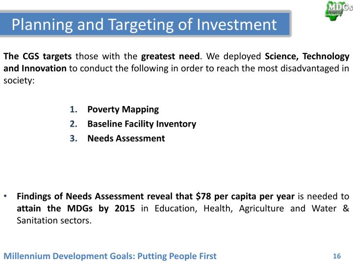 Planning and Targeting of Investment