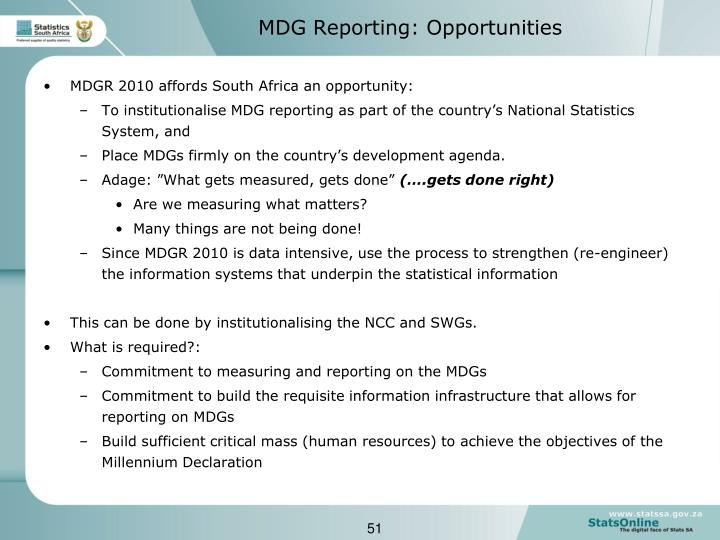 MDGR 2010 affords South Africa an opportunity: