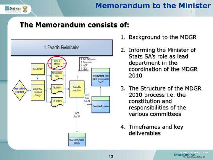 Memorandum to the Minister