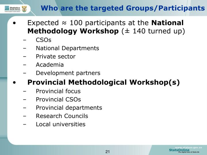 Who are the targeted Groups/Participants