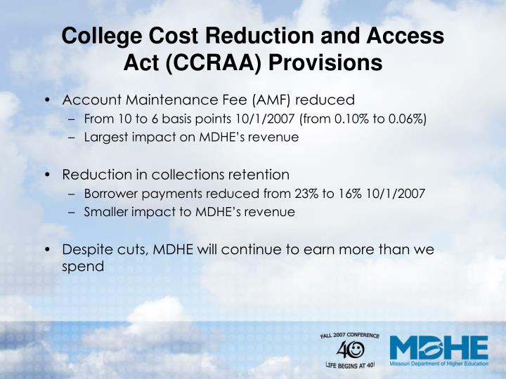 College cost reduction and access act ccraa provisions