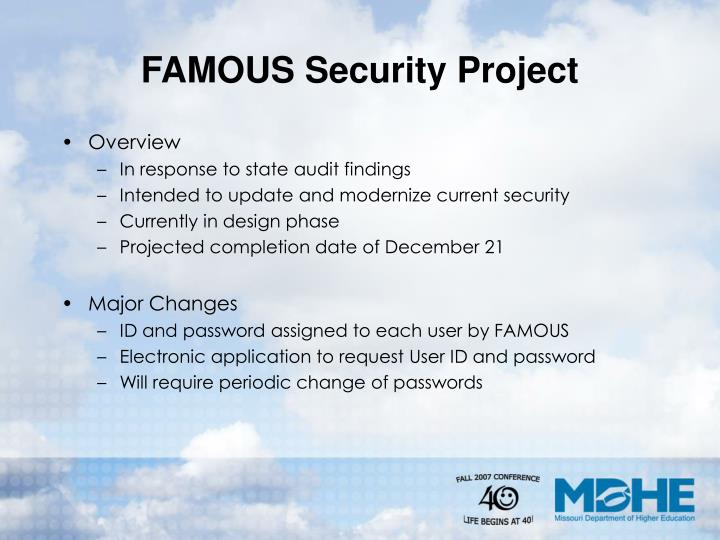 FAMOUS Security Project