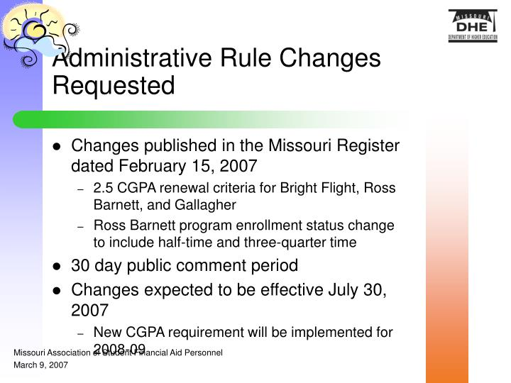 Administrative Rule Changes Requested