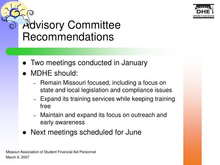 Advisory Committee Recommendations