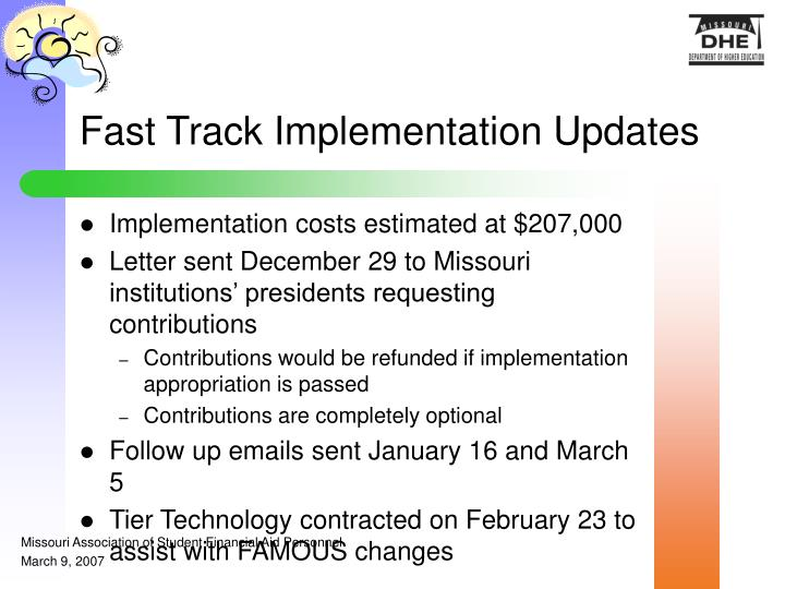 Fast Track Implementation Updates