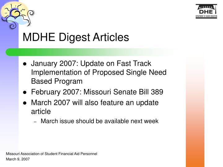 MDHE Digest Articles