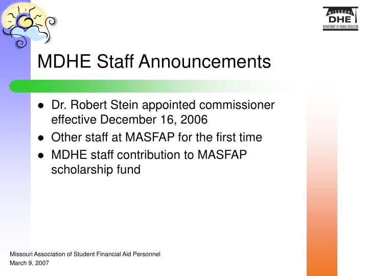 MDHE Staff Announcements