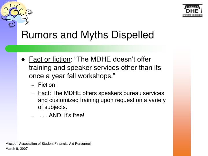 Rumors and Myths Dispelled